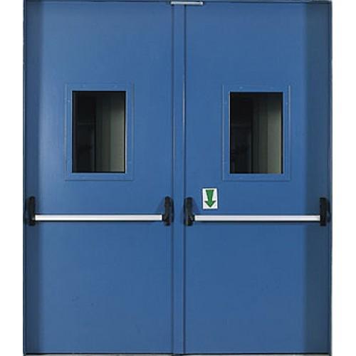 Противопожарная дверь ДБО-2 (ДБО-2С, ГПСН, ГПБН) (EI-60) двупольная (со стеклом)